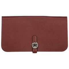 Hermes Women's Wallet Burgundy Leather