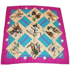 "Hermes Wonderfully Detailed ""Polo Of France"" Silk Jacquard Scarf"