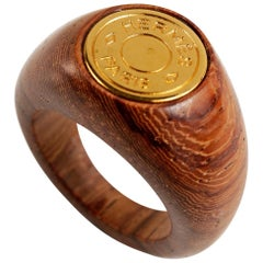 Hermès Wood and 18K Gold Ring size 5