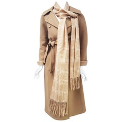 Hermes Wool Camel Double Breasted Coat with Scarf and Sash 46 EU