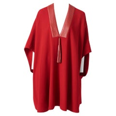 """Hermès Wool  """"Robe Tunique"""" with Leather and Tassel Detail"""