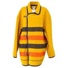 Hermes Wool Yellow Red Blue Orange Stripe Oversize Trench Style Jacket Coat