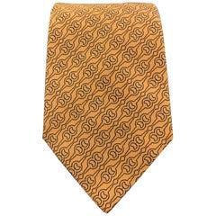 HERMES Woven Orange Silk Navy Horsebit Print Tie 758707 T