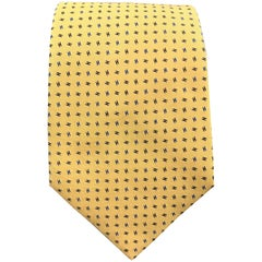 HERMES Woven Yellow Silk H Print Tie 758756T