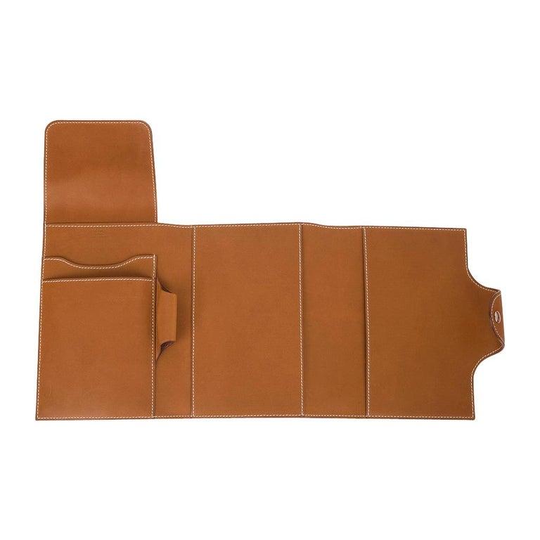 Brown Hermes Writing Set Medium Model Trifold Barenia Leather New For Sale