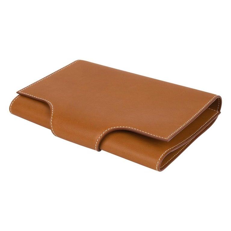 Women's or Men's Hermes Writing Set Medium Model Trifold Barenia Leather New For Sale