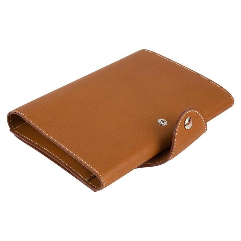 Hermes Writing Set Medium Model Trifold Barenia Leather New For Sale 1