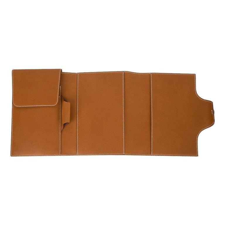 Hermes Writing Set Medium Model Trifold Barenia Leather New For Sale 2