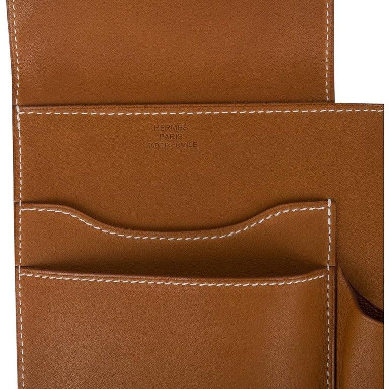 Hermes Writing Set Medium Model Trifold Barenia Leather New For Sale 3
