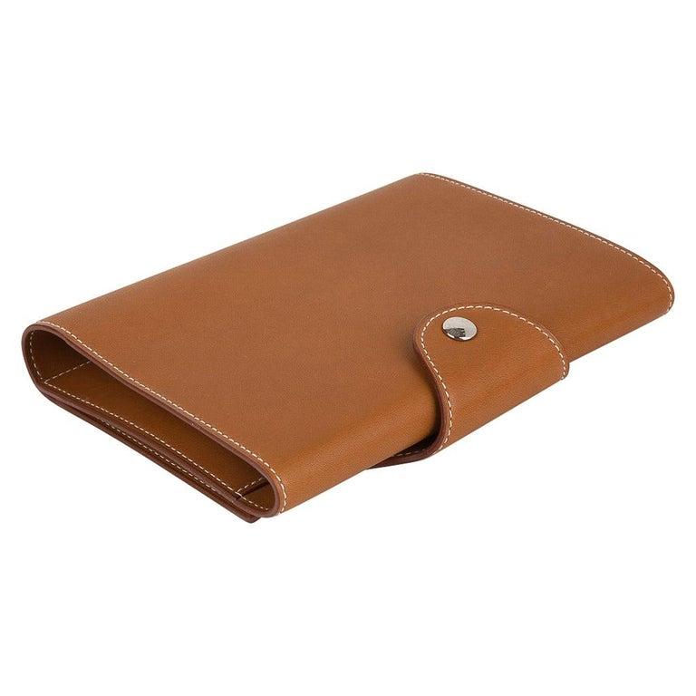 Hermes Writing Set Medium Model Trifold Barenia Leather New For Sale