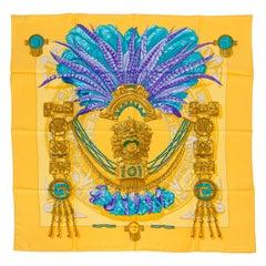 Hermès Yellow Blue Aztec Silk Scarf