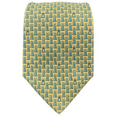 HERMES Yellow & Blue Bunny Rabbit Print Silk Tie