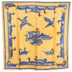 Hermes yellow & blue LA MARE AU CANARDS 90 silk twill Scarf
