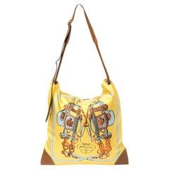 Hermès Yellow Brides de Gala Silk and Leather MM Silky City Bag