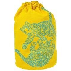 Hermes Yellow Canvas Blue Men's Women's Travel Carrryall Knapsack Shoulder Bag