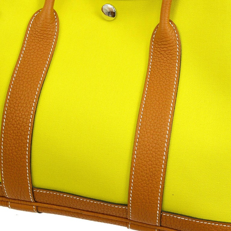 Hermes Yellow Canvas Cognac Leather Garden Carryall Top Handle Satchel Tote Bag  Canvas Leather Leather and canvas lining Palladium tone hardware Date code present Made in France Handle drop 4