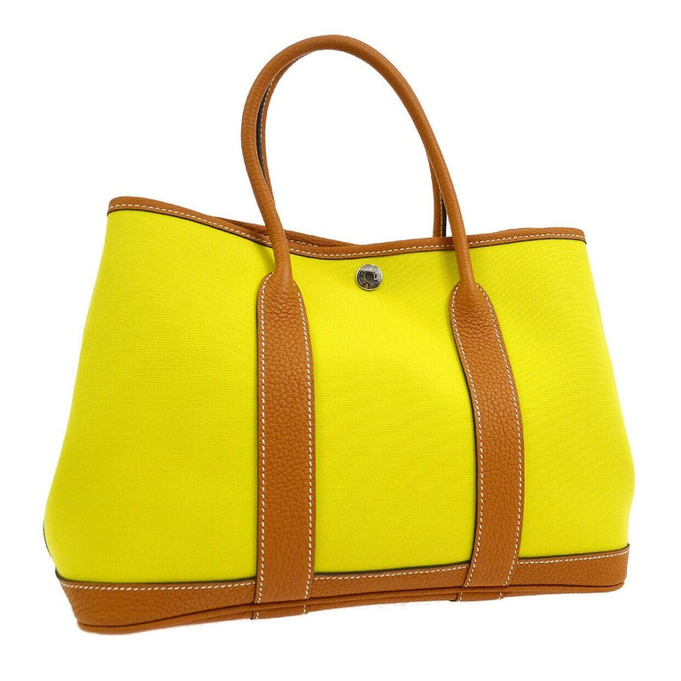 Hermes Yellow Canvas Cognac Leather Garden Carryall Top Handle Satchel Tote Bag In Good Condition For Sale In Chicago, IL