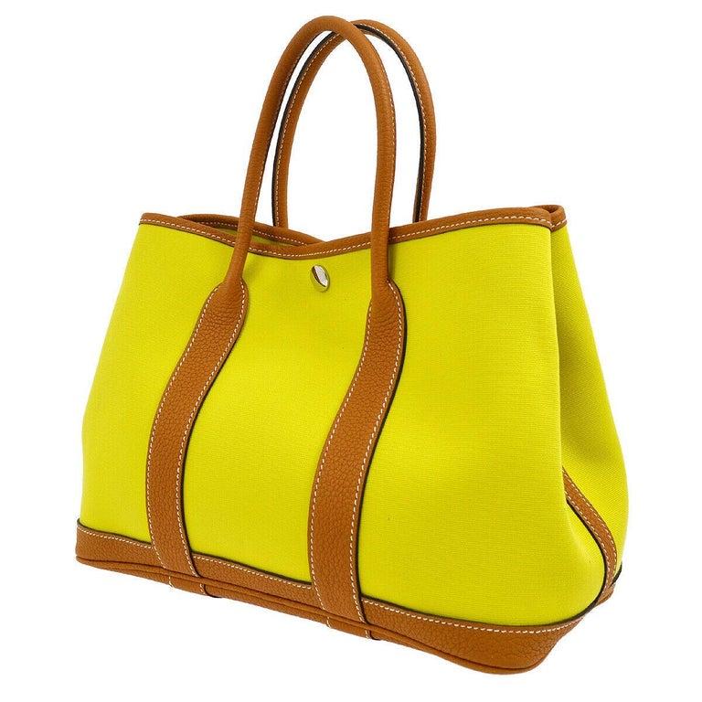 Women's Hermes Yellow Canvas Cognac Leather Garden Carryall Top Handle Satchel Tote Bag For Sale
