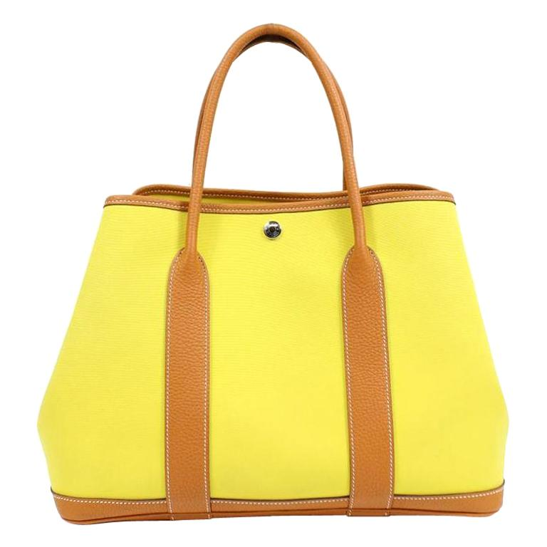 Hermes Yellow Canvas Cognac Leather Garden Carryall Top Handle Satchel Tote Bag For Sale
