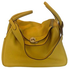Hermes Yellow Clemence Leather Lindy 30cm Bag