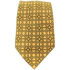 HERMES Yellow Geometric Interlock Print Silk Tie
