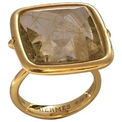 Hermes Yellow Gold and Rutilated Quartz Large Ring
