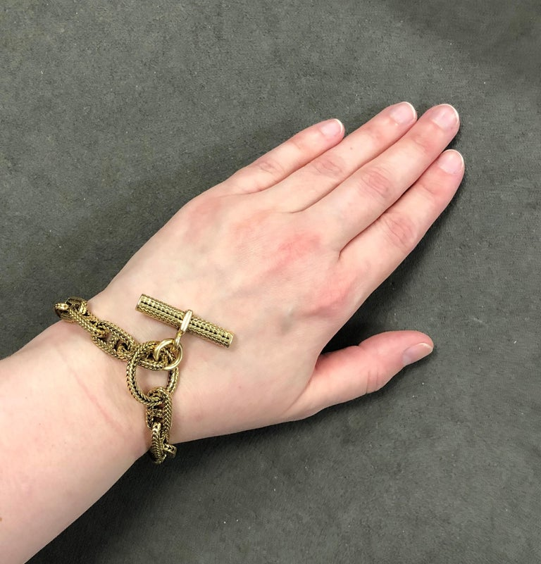 Women's or Men's Hermes 18K Yellow Gold Chaine D Ancre Bracelet For Sale