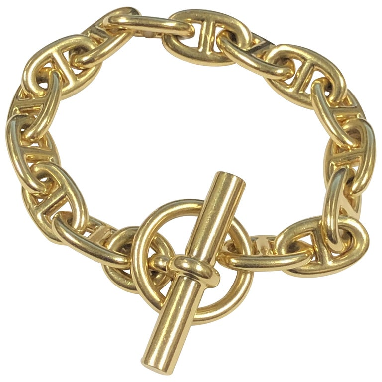 Hermes Yellow Gold Chaine D' Ancre Bracelet For Sale