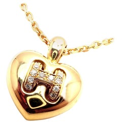 Hermès Yellow Gold Diamond H Heart Pendant Necklace