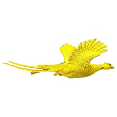 Hermes Yellow Gold Emerald Flying Pheasant Bird Brooch