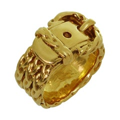 Hermes Yellow Gold Textured Buckle Ring