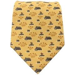 HERMES Yellow Hippo Print Silk Tie 5271 SA