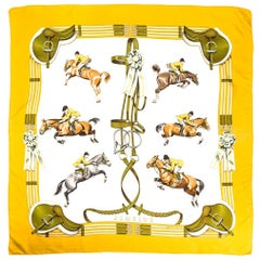 Hermes Yellow Jumping by Philippe Ledoux Silk Scarf
