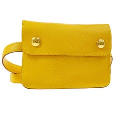 Hermes Yellow Leather Gold Fold Over Fanny Pack Flap Bum Waist Belt Bag
