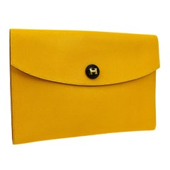 Hermes Yellow Leather 'H' Charm Envelope Pouch Evening Clutch Bag