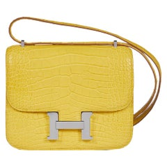 Hermès Yellow Mimosa Alligator Constance Bag