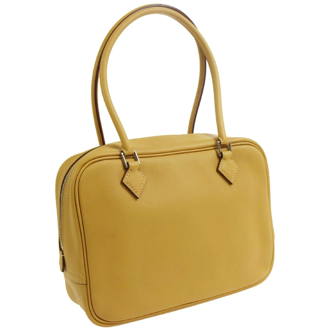 Hermes Yellow Mustard Leather Small Silver Evening Top Handle Satchel Bag