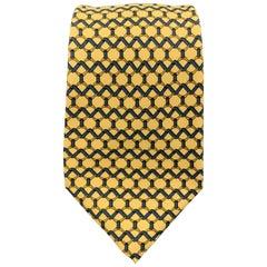 HERMES Yellow & Navy Silk Woven Interlock Print Tie 7090 OA