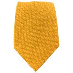 HERMES Yellow & Orange Woven Pattern Silk Tie 5205 IA