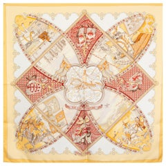 Hermes yellow & red LA VIE A CHEVAL 90 silk twill Scarf