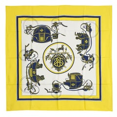 Hermes yellow white EX-LIBRIS 90 silk twill Scarf