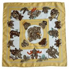 Hermes Yellow/White Silk Confidents Des Coeurs 45cm Pocket Square Scarf