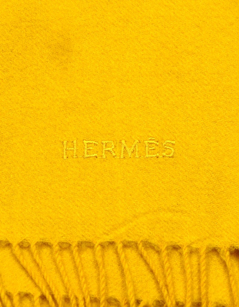 Women's Hermes Yellow Wool/Cashmere 70x55