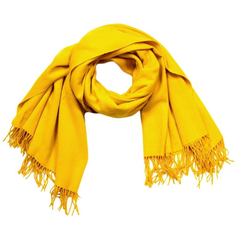 "Hermes Yellow Wool/Cashmere 70x55"" Throw Blanket Shawl For Sale"