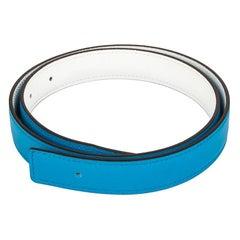 HERMES Zanzibar Blue White red 24mm Reversible Belt Strap 75 Swift leather