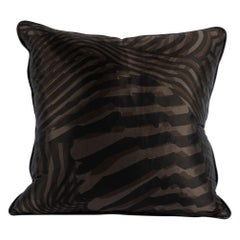 Hermes Zebra Silk Pillow with Espresso Leather Trim