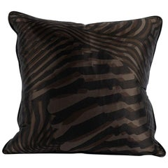 Hermès Zebra Silk Pillow with Espresso Leather Trim