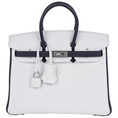 Hermes HSS Birkin 25 White / Blue Nuit Brushed Palladium