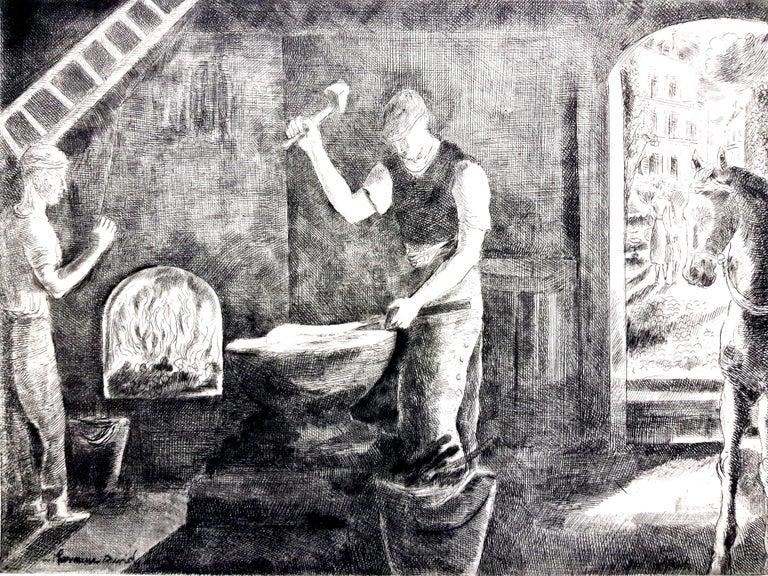 Hermine David - Workers - Original Etching - Modern Print by Hermine David