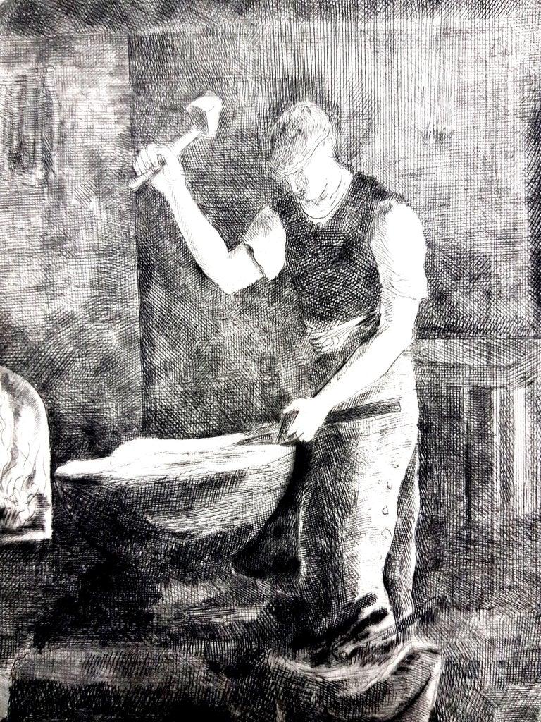 Hermine David - Workers - Original Etching - Gray Portrait Print by Hermine David
